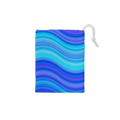 Blue Background Water Design Wave Drawstring Pouches (xs)