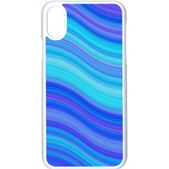 Blue Background Water Design Wave Apple Iphone X Seamless Case (white)