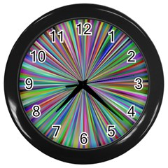 Burst Colors Ray Speed Vortex Wall Clocks (black)
