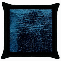 Blue Black Shiny Fabric Pattern Throw Pillow Case (black)