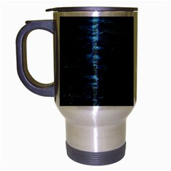 Blue Black Shiny Fabric Pattern Travel Mug (silver Gray)