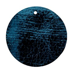 Blue Black Shiny Fabric Pattern Round Ornament (two Sides)