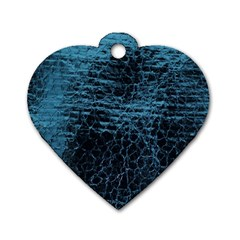 Blue Black Shiny Fabric Pattern Dog Tag Heart (one Side)