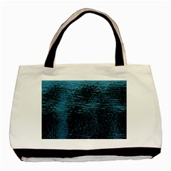 Blue Black Shiny Fabric Pattern Basic Tote Bag (two Sides)