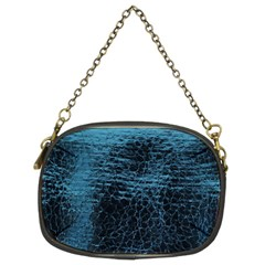 Blue Black Shiny Fabric Pattern Chain Purses (two Sides)