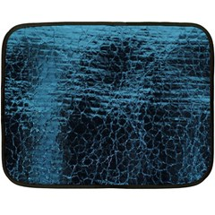 Blue Black Shiny Fabric Pattern Fleece Blanket (mini)