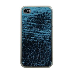 Blue Black Shiny Fabric Pattern Apple Iphone 4 Case (clear)