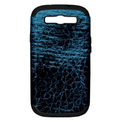 Blue Black Shiny Fabric Pattern Samsung Galaxy S Iii Hardshell Case (pc+silicone)