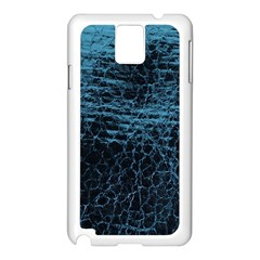 Blue Black Shiny Fabric Pattern Samsung Galaxy Note 3 N9005 Case (white)