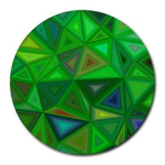 Green Triangle Background Polygon Round Mousepads