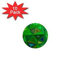 Green Triangle Background Polygon 1  Mini Magnet (10 Pack)
