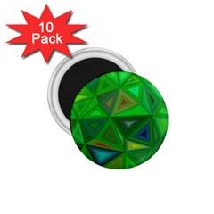 Green Triangle Background Polygon 1 75  Magnets (10 Pack)