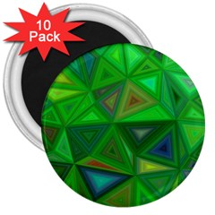 Green Triangle Background Polygon 3  Magnets (10 Pack)