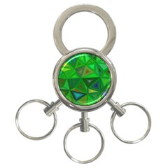 Green Triangle Background Polygon 3 Ring Key Chains