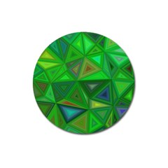Green Triangle Background Polygon Magnet 3  (round)