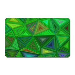 Green Triangle Background Polygon Magnet (rectangular)