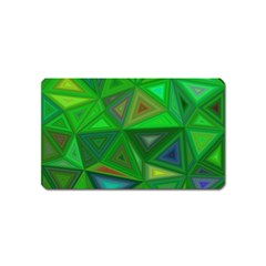 Green Triangle Background Polygon Magnet (name Card)