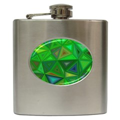 Green Triangle Background Polygon Hip Flask (6 Oz)