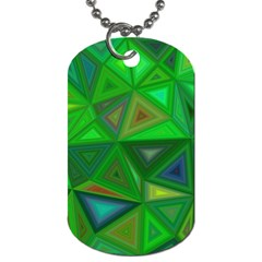 Green Triangle Background Polygon Dog Tag (two Sides)