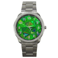 Green Triangle Background Polygon Sport Metal Watch