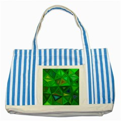 Green Triangle Background Polygon Striped Blue Tote Bag