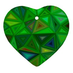 Green Triangle Background Polygon Heart Ornament (two Sides)