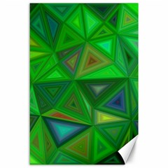 Green Triangle Background Polygon Canvas 24  X 36