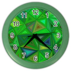 Green Triangle Background Polygon Color Wall Clocks