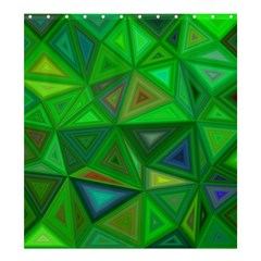 Green Triangle Background Polygon Shower Curtain 66  X 72  (large)
