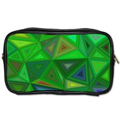 Green Triangle Background Polygon Toiletries Bags