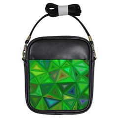 Green Triangle Background Polygon Girls Sling Bags