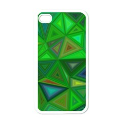 Green Triangle Background Polygon Apple Iphone 4 Case (white)