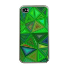 Green Triangle Background Polygon Apple Iphone 4 Case (clear)