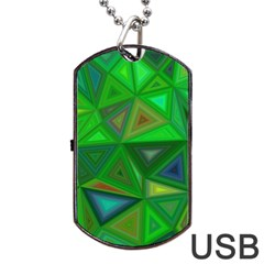 Green Triangle Background Polygon Dog Tag Usb Flash (two Sides)