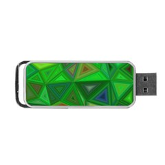 Green Triangle Background Polygon Portable Usb Flash (one Side)