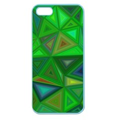Green Triangle Background Polygon Apple Seamless Iphone 5 Case (color)