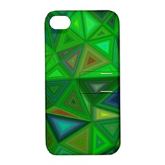 Green Triangle Background Polygon Apple Iphone 4/4s Hardshell Case With Stand