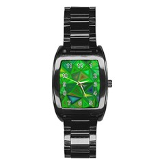 Green Triangle Background Polygon Stainless Steel Barrel Watch