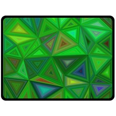 Green Triangle Background Polygon Double Sided Fleece Blanket (large)