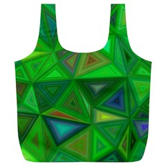 Green Triangle Background Polygon Full Print Recycle Bags (l)