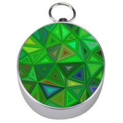 Green Triangle Background Polygon Silver Compasses