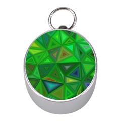 Green Triangle Background Polygon Mini Silver Compasses
