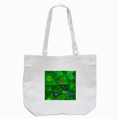 Green Triangle Background Polygon Tote Bag (white)