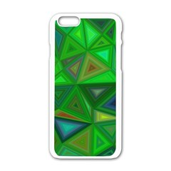 Green Triangle Background Polygon Apple Iphone 6/6s White Enamel Case