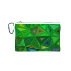 Green Triangle Background Polygon Canvas Cosmetic Bag (s)