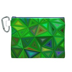 Green Triangle Background Polygon Canvas Cosmetic Bag (xl)