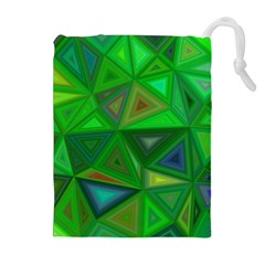 Green Triangle Background Polygon Drawstring Pouches (extra Large)