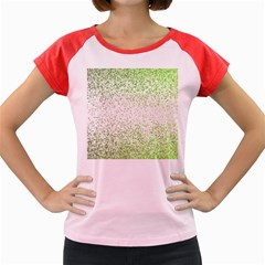 Green Square Background Color Mosaic Women s Cap Sleeve T Shirt