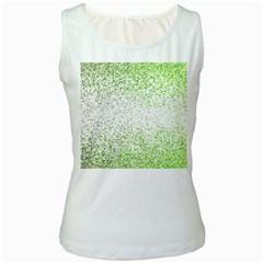 Green Square Background Color Mosaic Women s White Tank Top