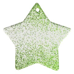 Green Square Background Color Mosaic Star Ornament (two Sides)